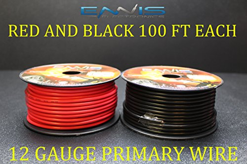 12 Awg Copper Wire (12 GAUGE WIRE ENNIS ELECTRONICS 100 FT RED 100 FT BLACK PRIMARY REMOTE HOOK UP AWG COPPER CLAD)