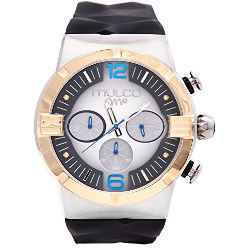 Mulco M10 Dome Gents Collection Watch - Premium Analog Display - 100% Silicone Band Watch - Chronograph - Water Resistant - Stainless Steel Fashion (Black/Gold)