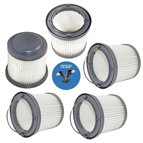 HQRP 5-Pack Washable Filter for Black & Decker PHV1810, PHV1410, PHV1210 Pivot Vac Vacuums, PVF110 Replacement Coaster ()