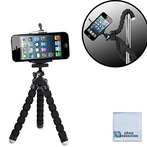"Acuvar 6.5"" inch Flexible Tripod With Universal Mount for All iPhones, Samsung Phones and Many More & an eCostConnection Microfiber Cloth"