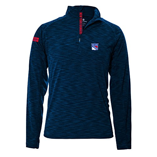 Levelwear LEY9R NHL New York Rangers Men's Mobility Insignia Strong Style Quarter Zip Mid-Layer Apparel, Large, Navy