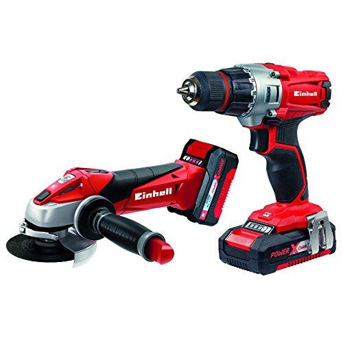 Einhell Maschinen-Set Werkzeug TE-TK 18 Li Power X-Change (Lithium Ionen, 18 V, Akku-Bohrschrauber, Akku-Winkelschleifer, inkl. 1,5 & 3,0 Ah Akku und Ladegerät)