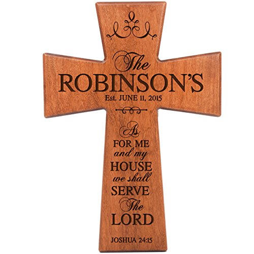 LifeSong Milestones As for Me and My House Cherry Wood Wall Cross Personalized Housewarming Gift (12x17) ()