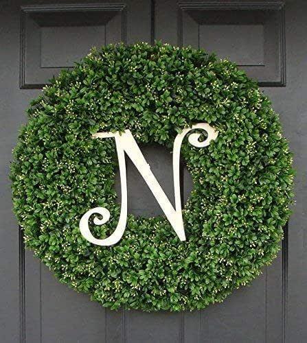 Monogram Wreath-Christmas Wreath-Boxwood Monogram Wreath-Faux Boxwood Wreath-Holiday Wreath-Holiday Boxwood Wreath-Red Berry Wreath