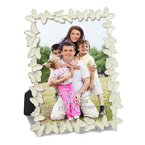 Pictures Big Butterfly - PETAFLOP 5x7 White Metal Picture Frame with Butterfly Decoration Photo Frame Love Decoration