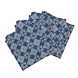 Roostery Blue and White Asian Lonely Angel Chinese Woodblock Ikat Bandana Linen Cotton Dinner Napkins Chinese Indigo Tiles ~ Bian ~ by Peacoquettedesigns Set of 4 Dinner Napkins