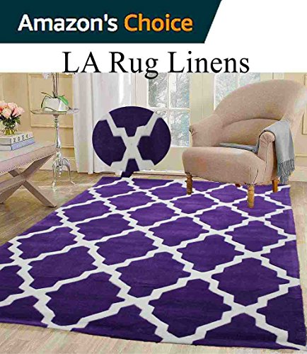 Colorful Deep Purple Dark Purple White Modern Contemporary Abstract Designer Hand Tufted 8x10 Bedroom Living Room Indoor Outdoor Rug Throw .5 Inch Thin Pile Height ( Vintage V-009 Purple ) (Capel Rugs Chenille Rug)
