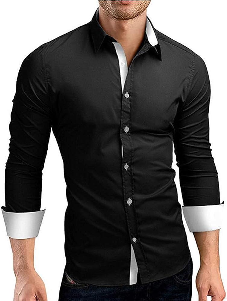 Dating Girl Camicia Uomo a Manica Lunga Camicia da Uomo Maniche Lunghe Facile Stiro Uomo Camice Casual S M L XL 2XL 3XL 4XL