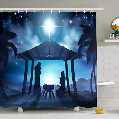 Ahawoso Shower Curtain for Bathroom 72x72 Blue Advent Christmas Scene Men Baby Palm Manger Holidays Star Animals Birth Silhouette Donkey Three Waterproof Polyester Fabric Bath Decor Set with Hooks