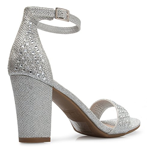 Zipper Sandals Buckle Shoes Glitter Women's Rhinestone Sexy Dress Heel Block Open Glitter Toe K OLIVIA Silver HwpBgqfxUH