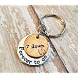 7 Year Anniversary 2011 Lucky Copper Penny with Down and Forever To Go Coin Key Chain