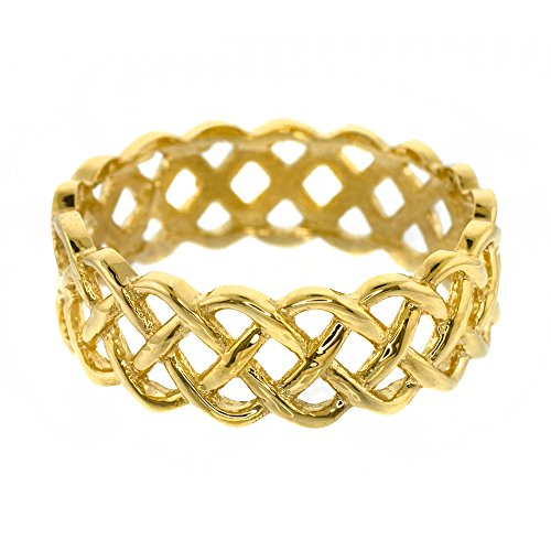 Fine 14k Yellow Gold Celtic Knot Band Eternity Ring (Size 11)
