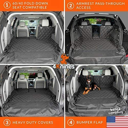 4Knines SUV Cargo Liner for Fold Down Seats - 60/40 Split and armrest Pass-Through fold Down Compatible - Black Extra Large - USA Based Company by 4Knines (Image #6)
