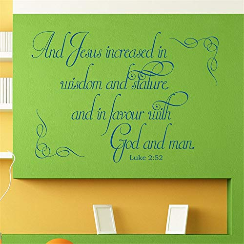 Vinyl Wall Statement Family DIY Decor Art Stickers Home Decor Wall Art Jesus Increased in Wisdom and Stature and in Favor with God and Man
