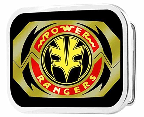 Power Rangers Live Action TV Series White Ranger Logo Rockstar Belt Buckle (Mighty Morphin Power Rangers Logo)
