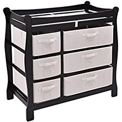 Costzon Baby Changing Table, Infant Diaper Changing Table Organization, Newborn Nursery Station with Pad, Sleigh Style Nursery Dresser Changing Table with Hamper/ 6 Baskets (Black)