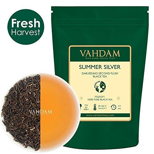 (VAHDAM, Second Flush Summer Silver Darjeeling Black Tea (50 Cups) | FRESH & PREMIUM DARJEELING TEA Loose Leaf | 100% PURE UNBLENDED Black Tea Loose Leaf | Brew as Hot Tea, Iced Tea or Latte | 3.53oz)