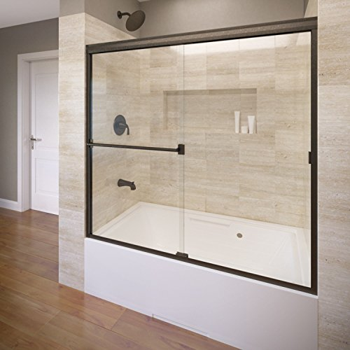 Basco Classic Semi-Frameless Sliding Tub Door, Fits 56-60 inch opening, Clear Glass, Oil Rubbed Bronze Finish by Basco Shower Door