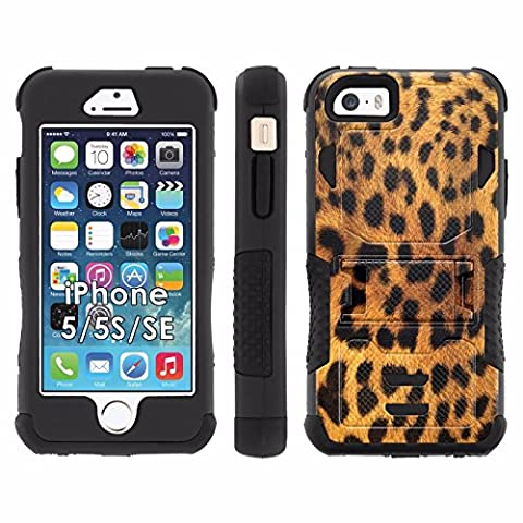 iPhone SE | 5 | 5S Phone Cover, Cheetah Print- Flak Jacket Dual Armor with Kick-stand for [iPhone SE | 5 | 5S] with [Kickstand and (Iphone 5 Cases Cheetah)
