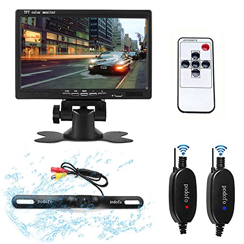 Podofo Universal Wireless Backup Camera System 7 inch TFT Monitor Rear View Camera with Night Vision Waterproof License Plate Camera Kit for - Optical Van Hours