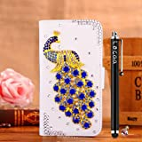 Locaa(TM) For SONY Xperia Z Ultra XL39h Back Leather Case New Wallet Design 3D Bling Cover Popular Stand Protective Moblie Holder Gift Peacock White Darkblue peacock