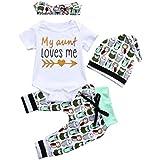 Lanhui 4Pcs Infant Baby Boys Girls Letter Print Rompers Jumpsuit Pants Hat Set