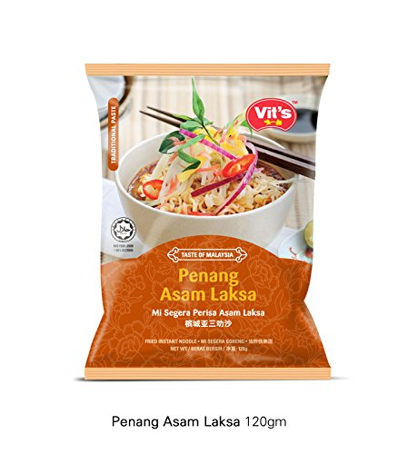 8-pack Vit's/Taste of Malaysia/Penang Asam Laksa/Rich Tangy Flavor/Exotically Delicious With Sour Twist Of Tamarind Noodles (120g/pack)