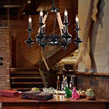 KHSKX European retro lamps and creative industrial air hoists rope chandelier restaurant coffee shop bar special lamps 6