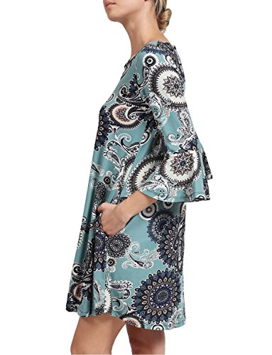 J 23025v Del Front Vestito 4 V Lovny Neck 23025v Printed Flare Davanti Sleeve Chiarore Croce 3 Balza Manicotto 4 Flounce Stampato Delle Collo Cross Women's Il Dress 3 V Donne Lovny Ha J 66xfI