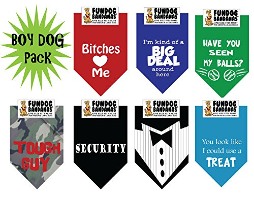 7 PACK BANDANAS - Boy Dog Pack, One Size Fits Most for