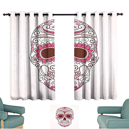 Ornament Mexican Folk Art - Mannwarehouse Sugar Skull Decor Light Luxury high-end Curtains Mexican Ornaments Calavera Catrina Inspired Folk Art Macabre Suitable for Bedroom Living Room Study, etc.63 Wx63 L Pink Light Pink White