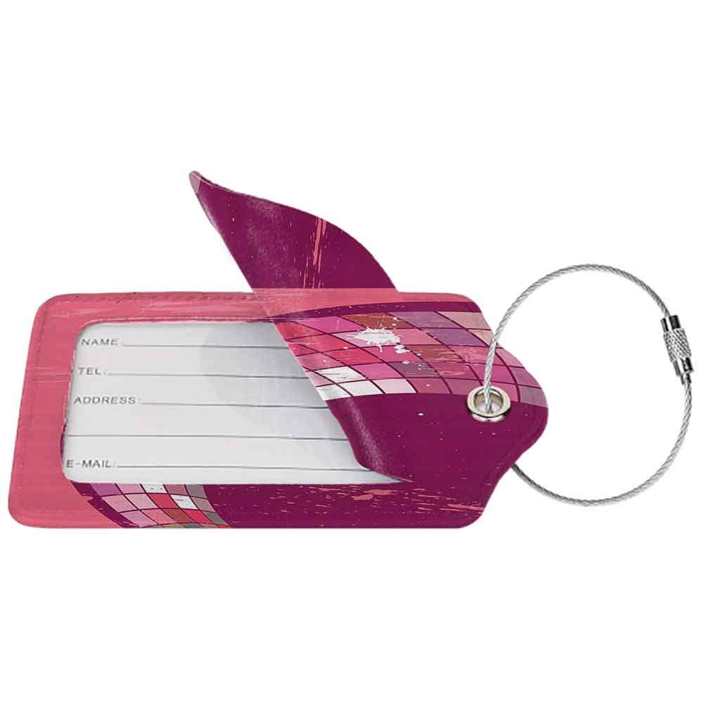 Soft luggage tag Pink Decor Grunge Pink Abstract Art Design Mosaic Pattern and Color Blots Illustration Bendable Pink and Purple W2.7 x L4.6