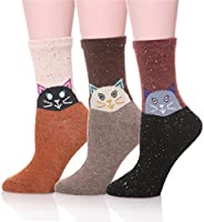 EBMORE Women Cute Animal Cartoon Fashion Casual Soft Wool Cotton Socks - 3 Pack