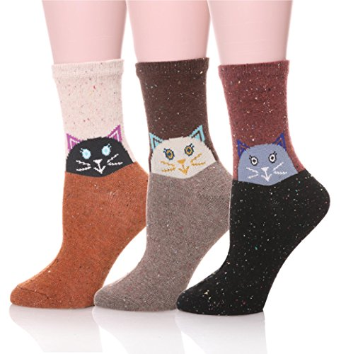EBMORE Women Cute Animal Design Fashion Casual Soft Wool Cotton Socks – 3 Pack 51phPz 2BZdFL