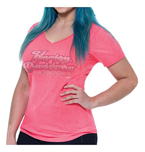 Harley-Davidson Women's Rhinestone Fame Notched V-Neck Short Sleeve Tee (3XL) (Fame Womens Fitted T-shirt)