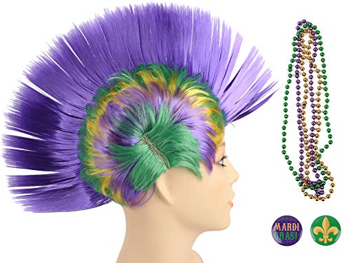 JASMINO Mardi Gras Punk Mohawk Mohican Hairstyle Cockscomb Hair Wig -