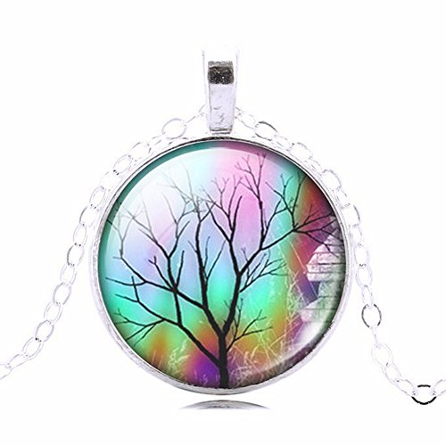 Multi-Colored Magical Tree Glass Cabochon Art Picture Round Pendant Necklace, 20 -22 - Sillouette Glasses