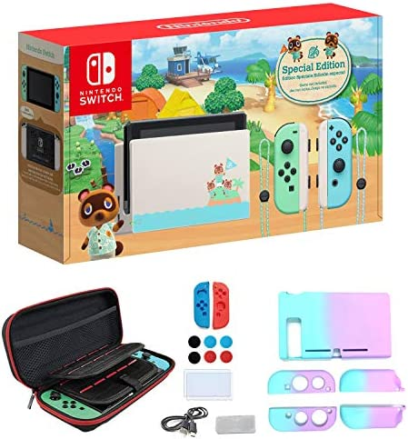 "Newest Nintendo Switch with Green and Blue Joy-Con - Animal Crossing: New Horizons Edition - 6.2"" Touchscreen Screen - Family Christmas Holiday Bundle - Green and Blue - iPuzzle 12-in-1 Carrying Case"