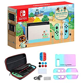 """Newest Nintendo Switch with Green and Blue Joy-Con - Animal Crossing: New Horizons Edition - 6.2"""" Touchscreen LCD Display - Green and Blue - iPuzzle 7-in-1 Carrying Case"""