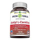 Amazing Nutrition Amazing Formulas Acetyl L-Carnitine Hcl Veggie Dietary Supplement - 500mg, 120 Vegetarian Capsules Per Bottle - Promotes Energy Production, Supporting Brain Heath &Cognitive Function