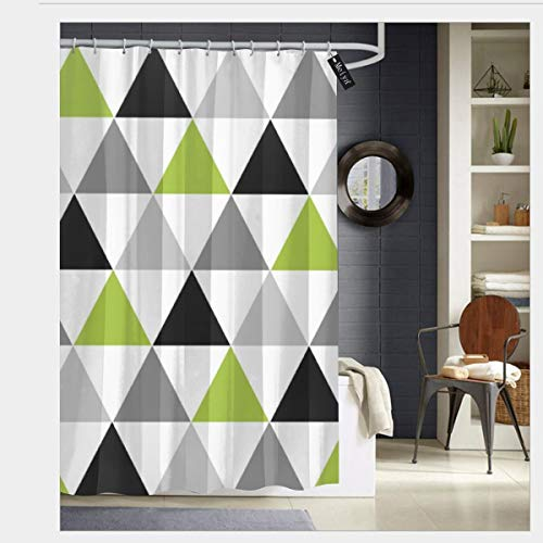 Puloa Lime Green Gray Black Triangles On White Shower Curtains with 12 Hooks,Durable Bathroom Curtain 72