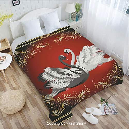 PUTIEN 3D Print Flannel Blanket Black and White Swan Couple Ornamental Framework Romance Grace Tenderness Purity Decorative Sofa Blanket for - Chandelier Grace Mini