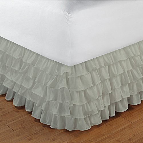 Floris Fashion Cal King 300TC 100% Egyptian Cotton Ivory Solid 1PCs Multi Ruffle Bedskirt Solid (Drop Length: 17 inches) - Tailored Finish Super Comfy Easy Care Fabric