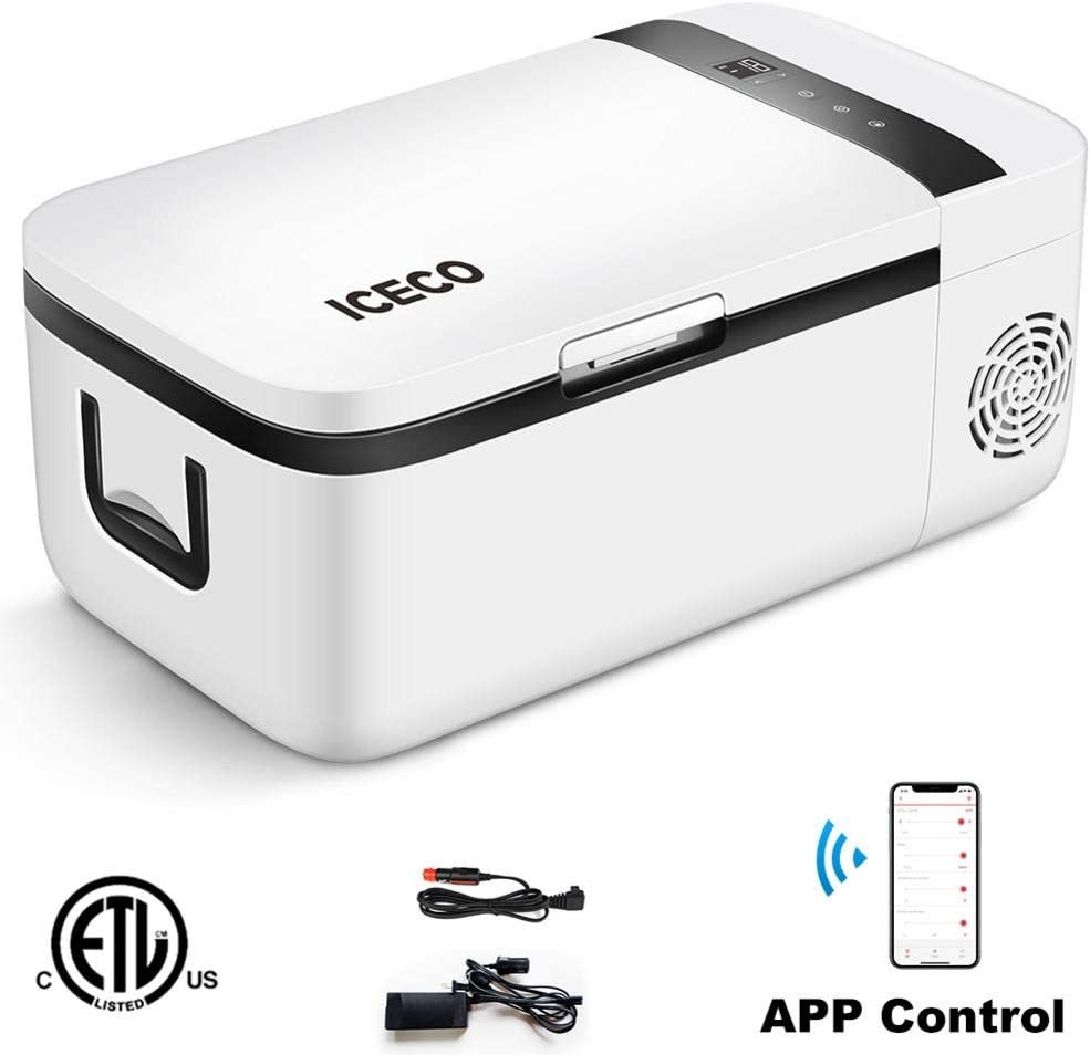 ICECO GO12 Portable Refrigerator, Touch Screen, APP Control, SECOP Compressor Cooler, DC 12/24 V, 0℉ to 50℉, AC 110-240V, Mini Fridge Freezer Compact for Car Vehicle, Car, Truck, RV, Boat