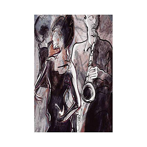 Polyester Garden Flag Outdoor Flag House Flag Banner,Jazz Music Decor,Illustration of Jazz Man Playing the Saxophone with Dancers Classic Home Decor,Pink Black White,for Wedding Anniversary Home Outdo ()