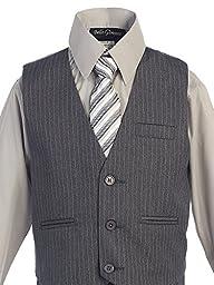 Bello Giovane Boys Grey Pinstripe 5-piece Suit (Free Fedora) (7)