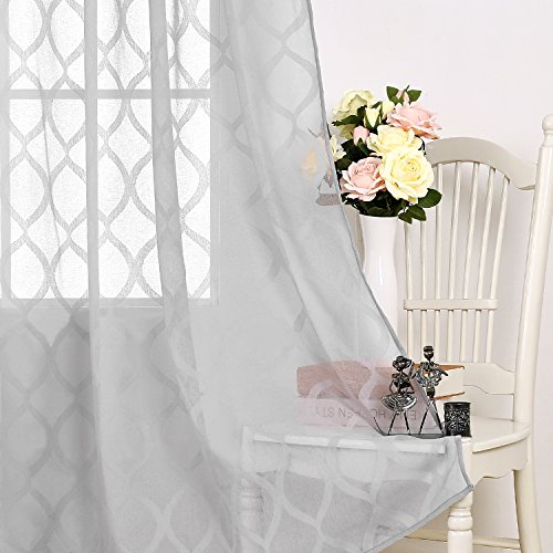 Deconovo Textured Sheer Curtains Grommet Jacquard Curtains Sheer Linen Curtains for Office 52X63 Inch Grey 1 (Grommet Accents)