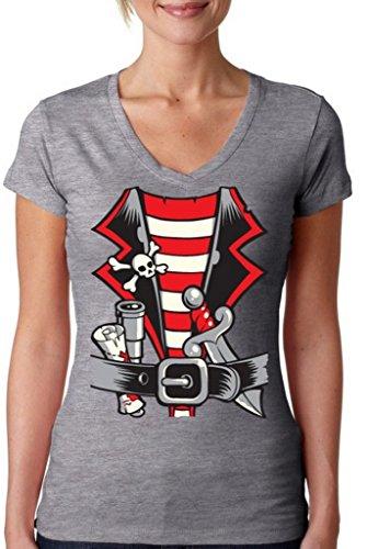 Awkwardstyles Women's Pirate Costume V-Neck T-Shirt Happy Halloween Shirt L -
