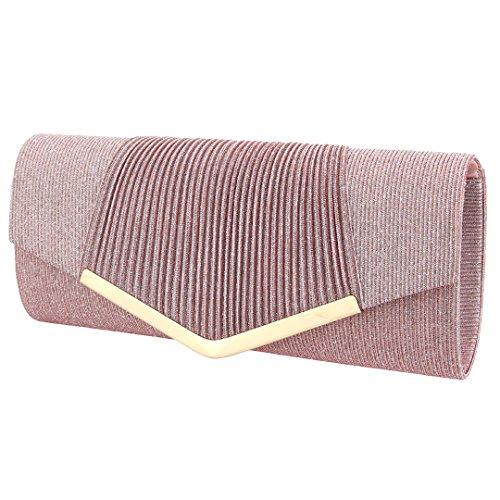 00973 Pink Evening Clutch Womens Sequins Handbag Envelop for Party Prom Shiny Purse Gabrine Fabric Bag Wedding Material qaxZF5