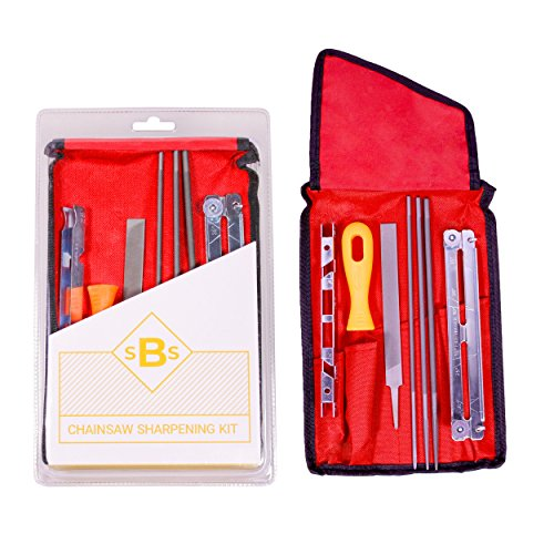 SBS Products Universal Chainsaw Sharpener Kit - 8 Tool Set with Portable Case for Chain Sharpening - Includes 5/32, 3/16 & 7/32 Inch Files, Raker File, Depth Gauge, Blade Filing Guide & Handle by SBS Products